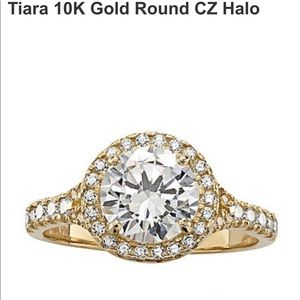 10k gold round CZ halo ring